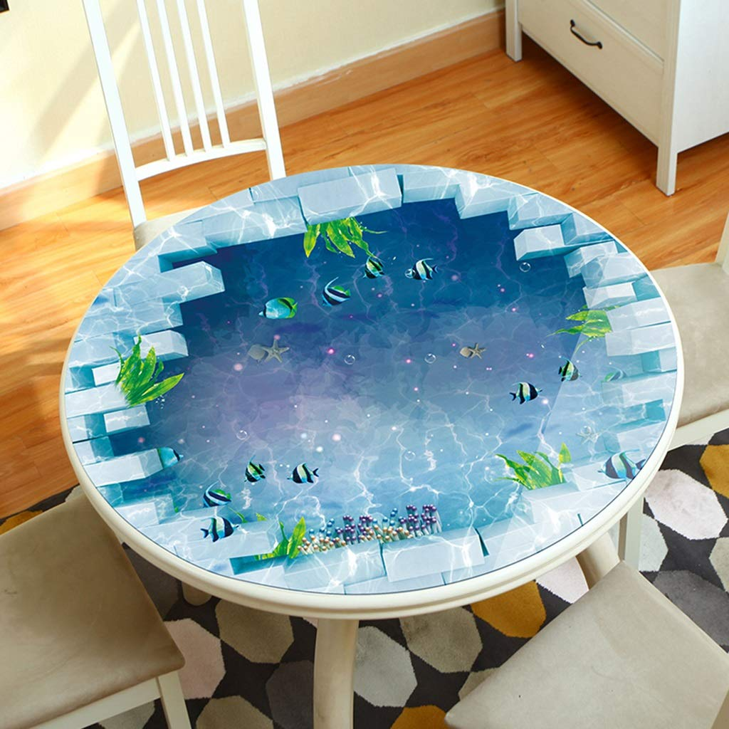 テーブルカバー ラウンドPVCテーブルマット、3Dプリント軟質ガラスラウンドテーブルトッププロテクターカバー、防水ホットアンチオイルテーブルクロス (サイズ さいず : 180cm) 180cm  B07NL44FF7