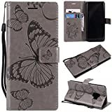 Samsung Galaxy S9 Case, Lomogo Leather Wallet Case with Kickstand Card Holder Shockproof Flip Case Cover for Samsung Galaxy S9 - LOKTU21665 Grey