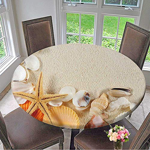 - Mikihome Circular Table Cover Group of Seashells,starfishes on The Sand for Wedding/Banquet 55