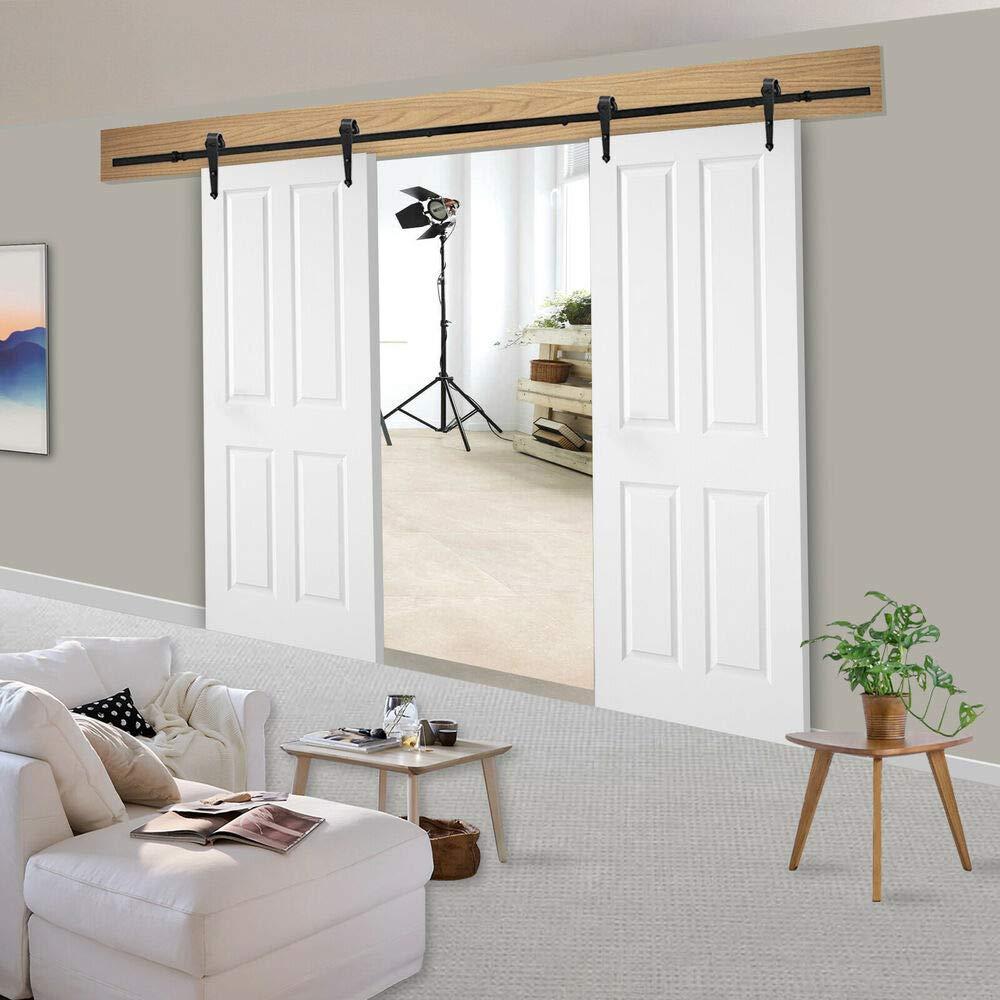 6ft x 2 Safe Design Room Connet Track Kit Double Door Sliding Barn Door Hardware