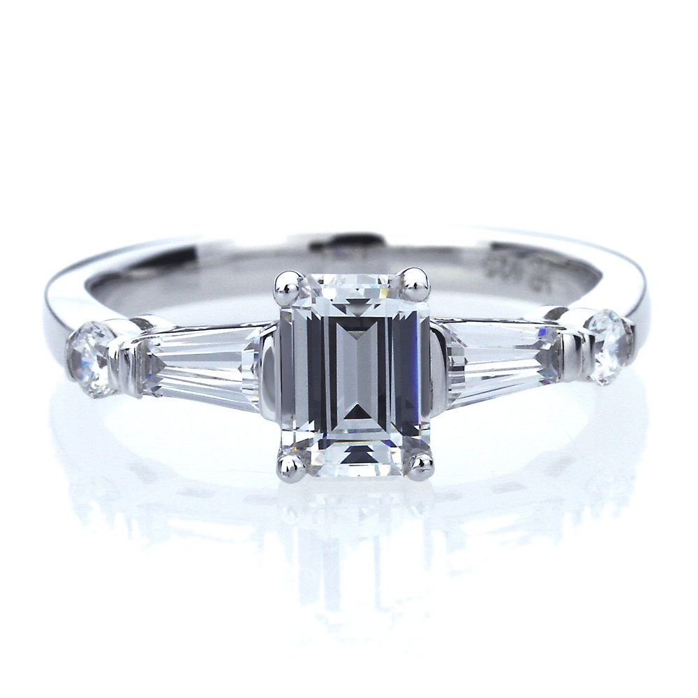 Platinum Plated Sterling Silver 1ct Emerald Cut CZ with Baguette Wedding Engagement Ring ( Size 5 to 9 ), 9