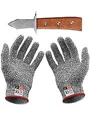 Couteau à Huîtres avec Paire de Gants Anti Coupures du Quotidien Protection de Niveau 5 Conforme à La Norme en 388 (Cuisine, Jardinage, Bricolage)