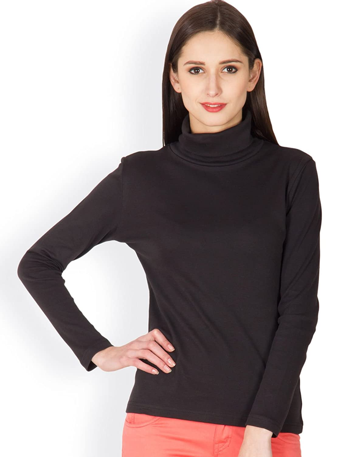 Black t shirt womens - Hypernation Black Color Casual High Neck T Shirt For Women Amazon In Clothing Accessories