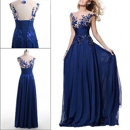 OULII Boda vestido largo azul filas de flores Hotsale azul encaje flor fila perspectiva vestido de