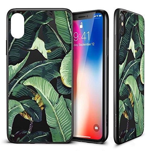 iPhone X Case, ESR Banana Leaf Pattern Cover for Girls/Women [Anti Scratch PC Back + Soft Bumper] with Black Matte Silicone for 5.8