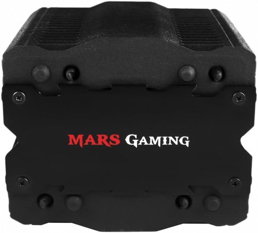 Mars Gaming MCPU2+ - Disipador gaming para ordenador (ventilador 92mm, soporte AM4, tecnología PWM, tratamiento de nanocerámica, ventilador en el interior de la torre, 4 heatpipes) color negro