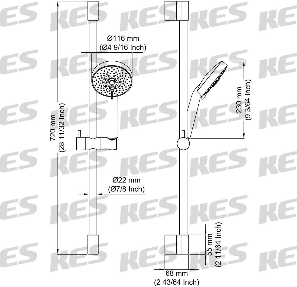 KES Barra De Ducha Con 5 Funci/ón Masaje Cabeza de Ducha Altura Ajustable Soporte Rociador Deslizante Pulido F200+KP501B