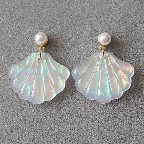Faux Shell Earrings - Chic Faux Pearl Seashell Stud Earrings,Seashell Stud Earrings for Women,Girls