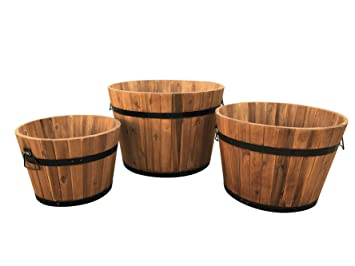 Click Deck Wooden Round Garden Planters Set Of 3 Small Medium