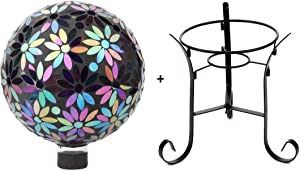 Lily's Home Colorful Mosaic Glass Gazing Ball, Designed with a Stunning Holographic Flower Petals Mosaic Pattern with a 9-inch Tall Metal Stand
