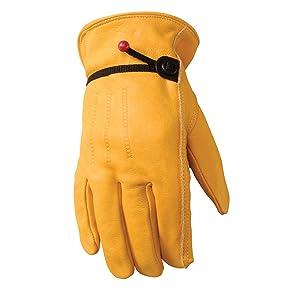 Wells Lamont 1132M Work Gloves with Grain Palomino Cowhide, Keystone Thumb, Self-Hem, Ball & Tape, Palm Patch, Medium