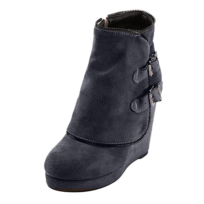 eed18f0723d77 Hunzed Women Shoes Winter Buckle Suede Platform Ladies Retro high Heel  Wedge Ankle Boots