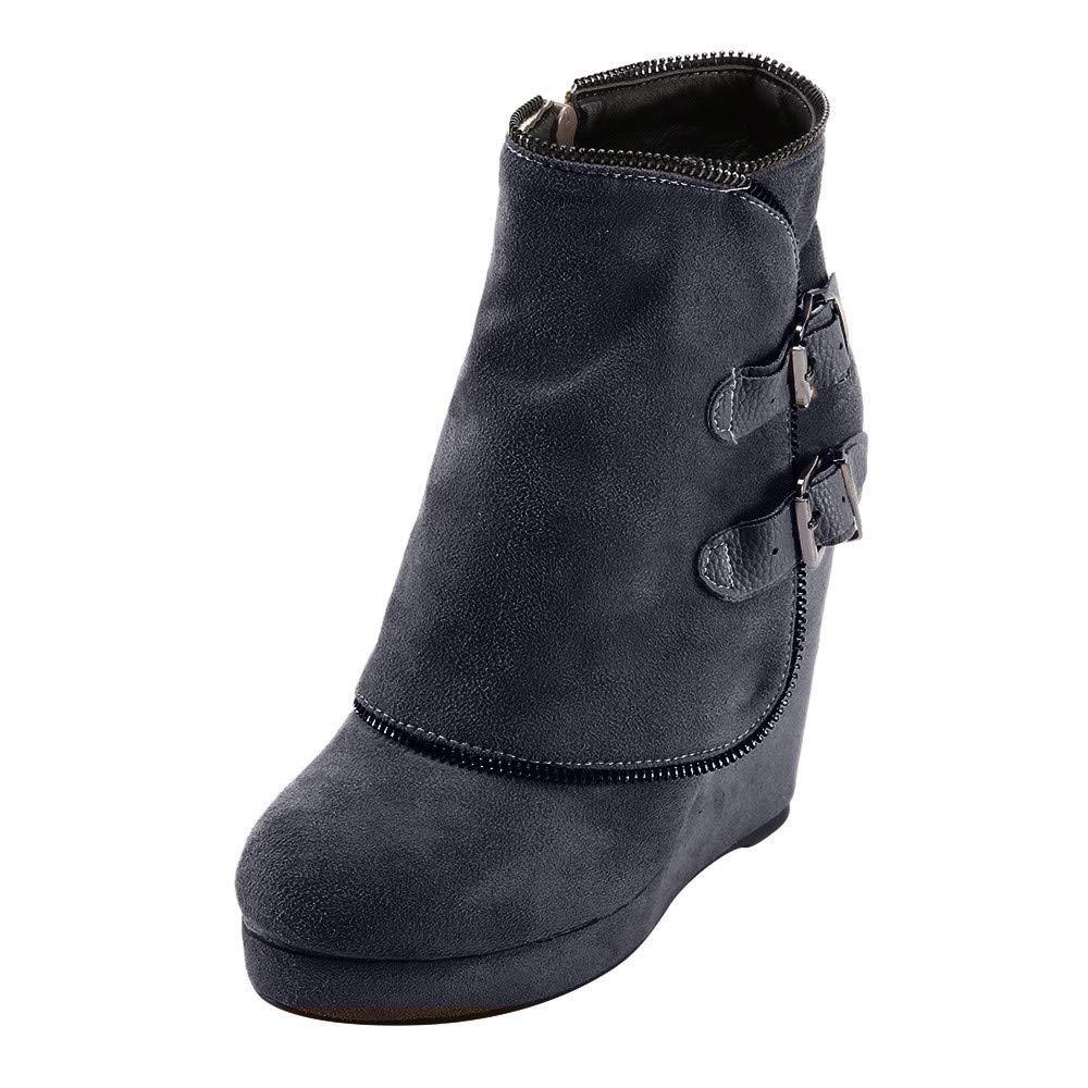 Hunzed Women Shoes Winter Buckle Suede Platform Ladies Retro high Heel Wedge Ankle Boots (Black, 8)