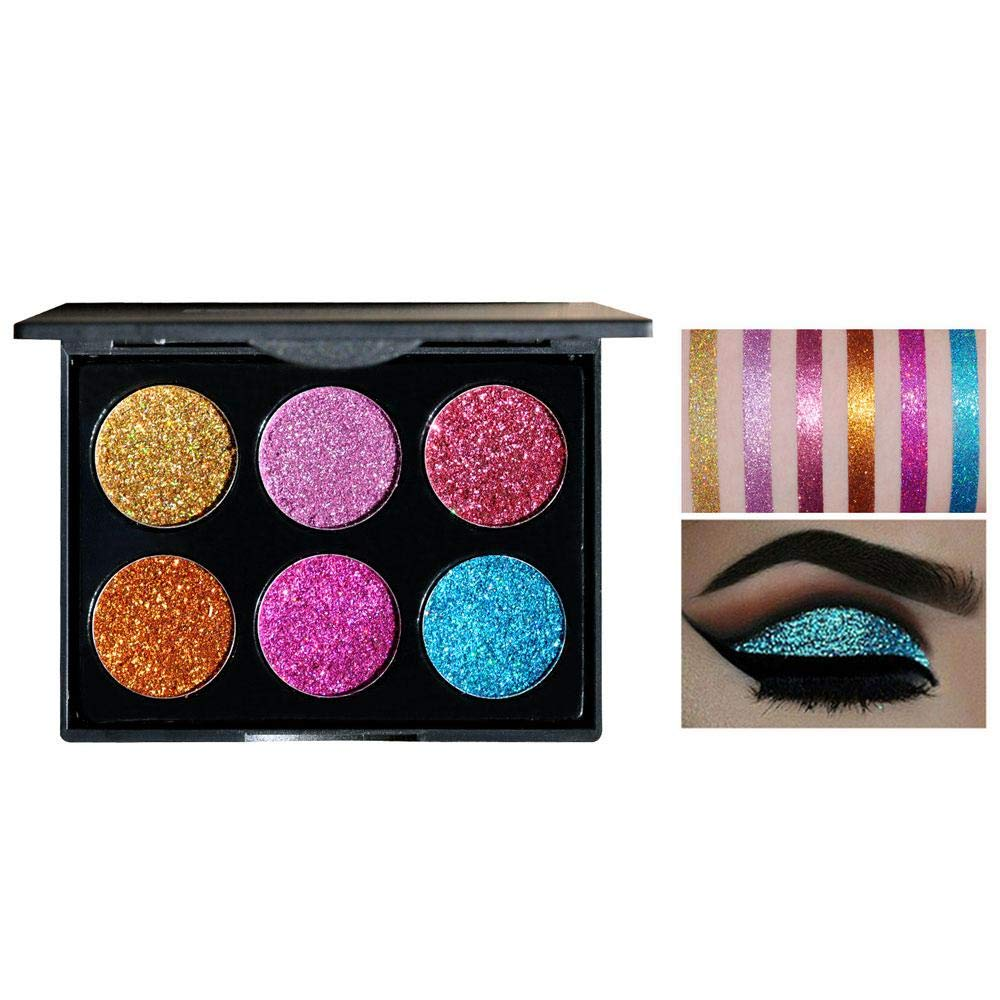KOBWA Eyeshadow Palette, 6 Shades Eyeshadow Palette Shiny and Pigmented Mineral Pressed Powder Glitter Eyes Long Stay On Make Up Eye Shadow Shimmer Palettes Face Lips for Party Makeup Tools