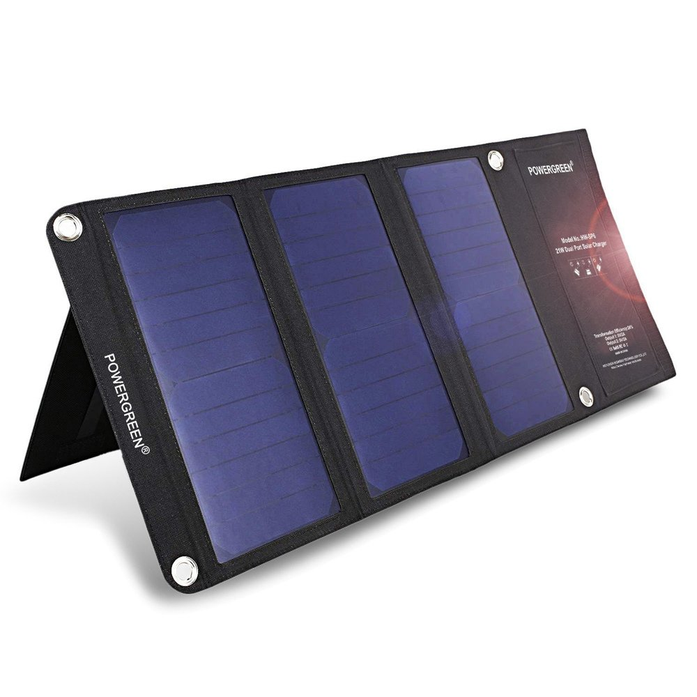 Solar Charger,PowerGreen 21W Folding Solar Panel Charger with Dual USB Ports for All 5V Digital Cell Phones,Emergency Camping Hiking Black