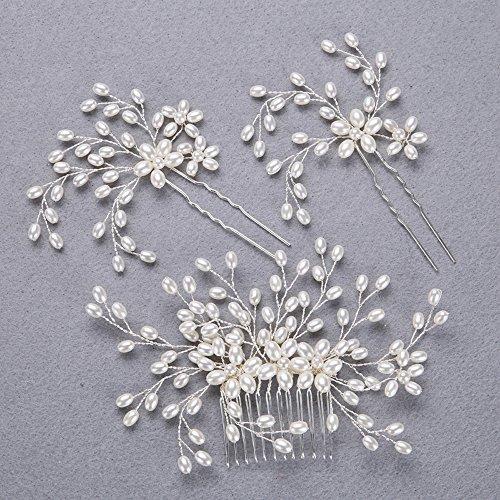 Venusvi Wedding Hair Comb Decorative and two Hair Pins for Bridal