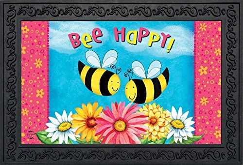 Briarwood Lane Bee Happy Bees Spring Doormat Floral Daisies Indoor Outdoor 18 x 30