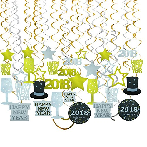 GOER 2018 New Year Party Decorations 31 Pcs Hanging Swirl and Celebration Card,Gold and Black Party Supplies for 2018 New Year Decorations