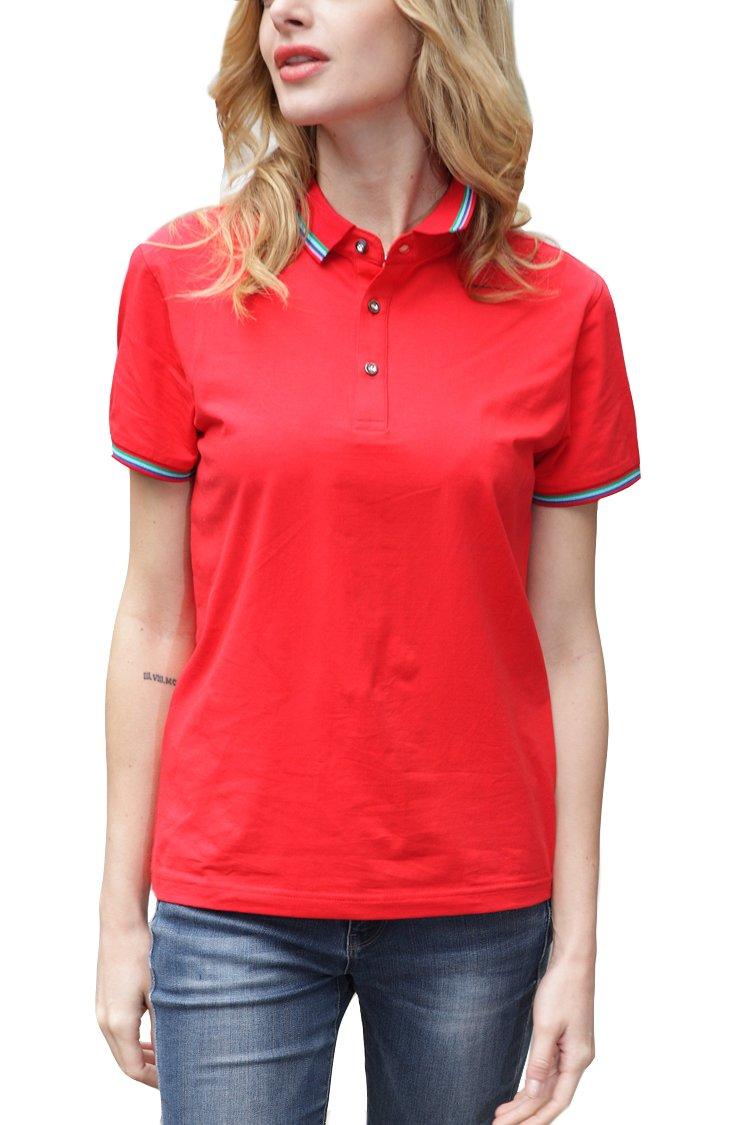 Women Classic Stripe Collar Slim Fit Short Sleeves Golf Performance Polo Shirt Red XXS