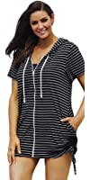 swimsuitsforall Women's Stripe Terry Zip Hoodie