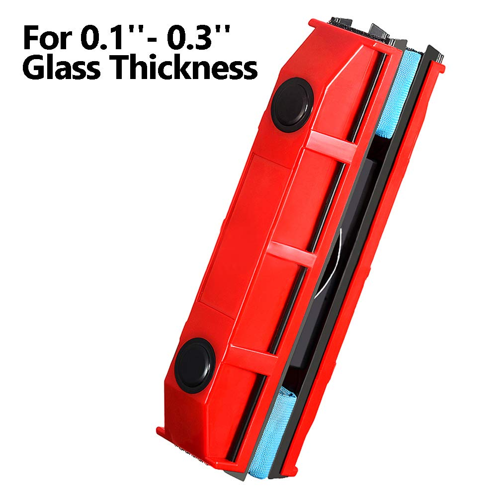 Magnetic Window Cleaner Squeegee Cleaning Brushes Tools for 0.1''-0.3'' Single Glazed Glass Suitable for Windows,Sliding Doors,Shower Screens,Car Windshields or Any Glass Surfaces