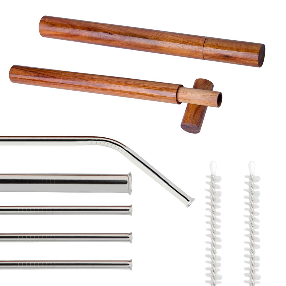 ZFITEI Stainless Steel Drinking Straws,Wooden 0.9 and 0.75in straws cases,Rounded tip Drinking Straws, Anti-Scratch Stainless Steel Set of 5, 8.5in long for 30&20 oz Tumbler