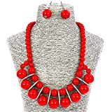 Fashion Jewelry Big Simulate Pearl Collar Statement Necklace and Earrings Set For Women (Red)