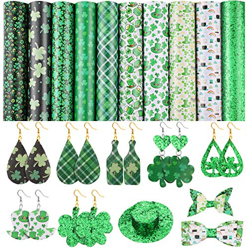 10 Pieces St. Patricks Day Faux Leather Sheet Shamrock Leather Fabric Sheet Glitter Sequins Fabric Faux Leather Sheet for DIY Bows Earrings Making Crafts, 20 x 26 cm/ 7.9 x 10.2 Inches
