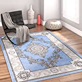 Chateau Medallion Blue French Aubusson Modern 8 x 10 (7'10'' x 9'10'' ) Area Rug Easy Clean Stain Fade Resistant Shed Free Contemporary Thick Soft Plush Living Room Rug