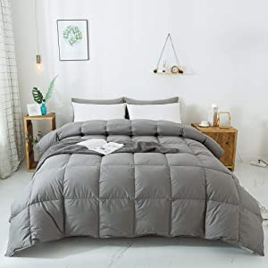 WhatsBedding 100% Cotton Down Comforter Goose Duck Down and Feather Filling,Hypoallergenic Comforter. All Season Duvet Grey Insert or Stand-Alone Down Comforter (Dark Gray Comforter Twin)