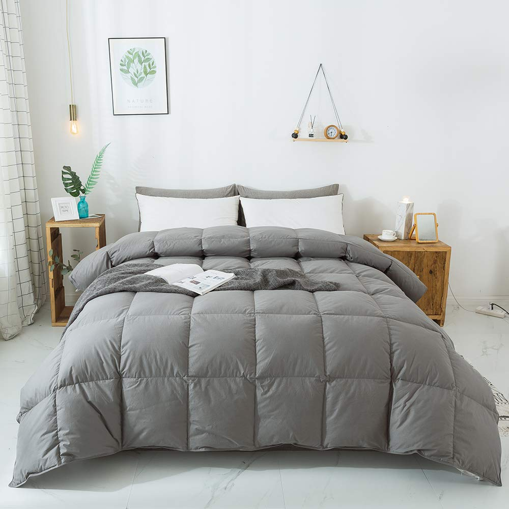 WhatsBedding 100% Cotton Down Comforter Goose Duck Down and Feather Filling,Hypoallergenic Comforter. All Season Duvet Grey Insert or Stand-Alone Down Comforter (Dark Gray Comforter Queen)