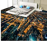 LWCX 3D Pvc Wallpaper Bustling Urban Night View 3D Floor 3D Floor Painting Wallpaper Home Decoration 3D Flooring 350X280CM