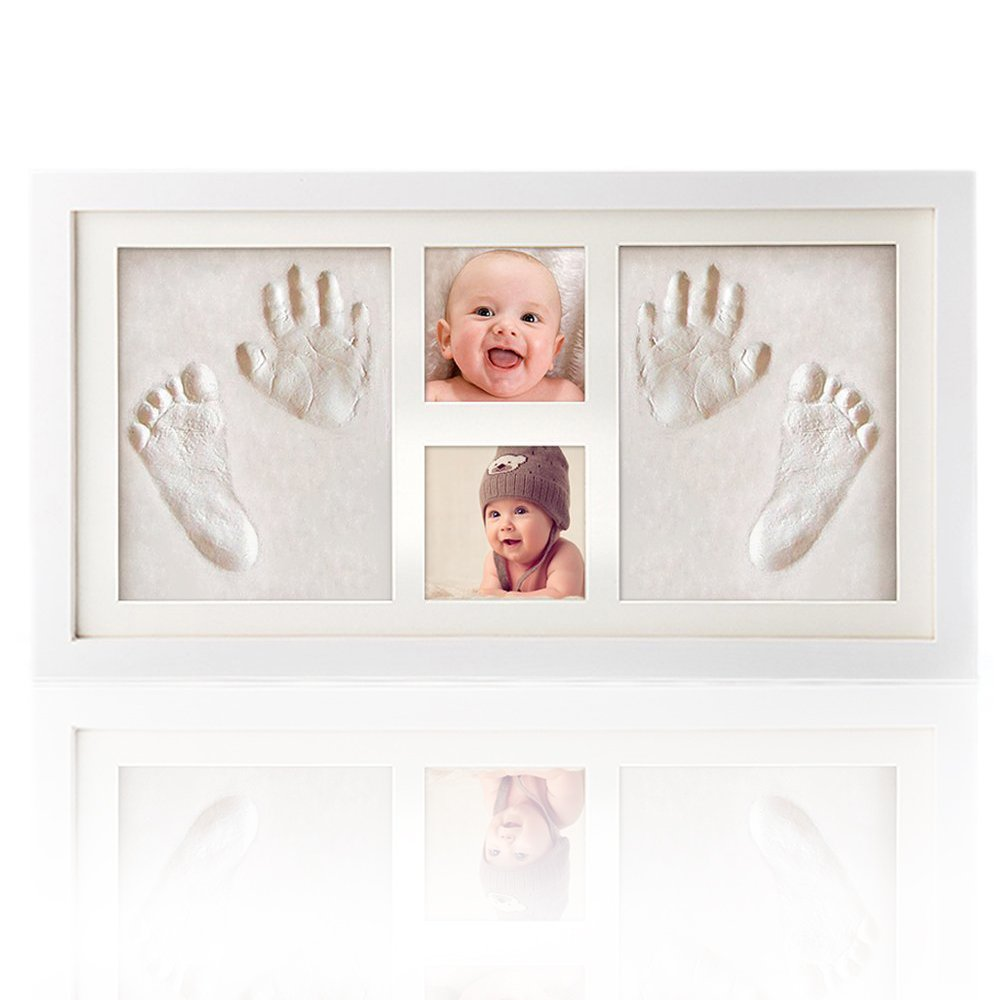 Baby Handprint Kit & Footprint Photo Frame for Newborn Girls and Boys, Baby Photo Album For Shower Registry, Personalized Baby Gifts, Keepsake Box Decorations for Room Wall Decor by ROYI