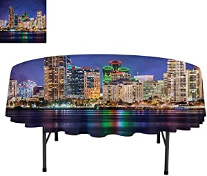 """Aishare Store USA Water Resistance Microfiber Tablecloth, Colorful Skyline of San Diego, Table Cover for Picnic Dinner Party, Round 54"""""""