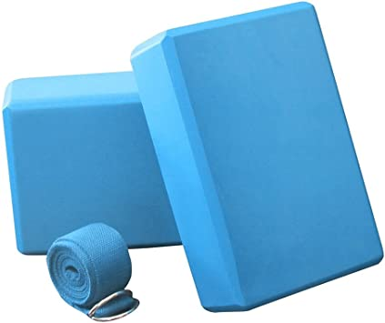 Anfire Yoga Block, Yoga Blocks 2 Pack & Strap - Balance & Flexibility Eva Foam Exercise Blocks