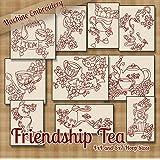 Friendship Tea Kitchen Redwork Embroidery Machine Designs on CD - Multiformat Pattern CD