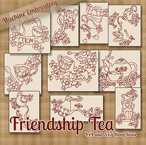 Redwork Kitchen - Friendship Tea Kitchen Redwork Embroidery Machine Designs on CD - Multiformat Pattern CD