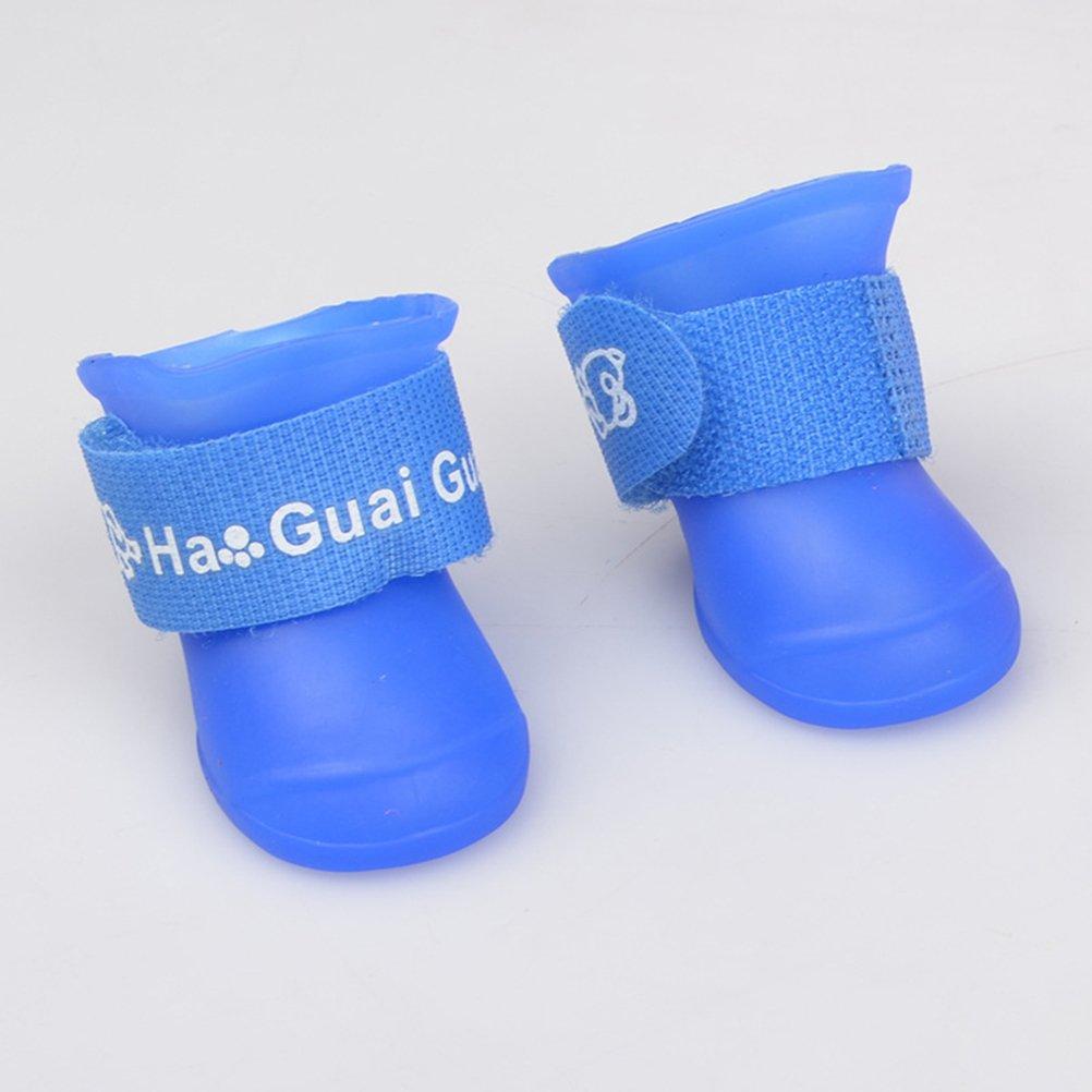 Talla S UEETEK Botas de lluvia para Perro mascota Colores dulces Zapatos de goma antideslizantes a prueba de agua para Peque/ño perrito Azul