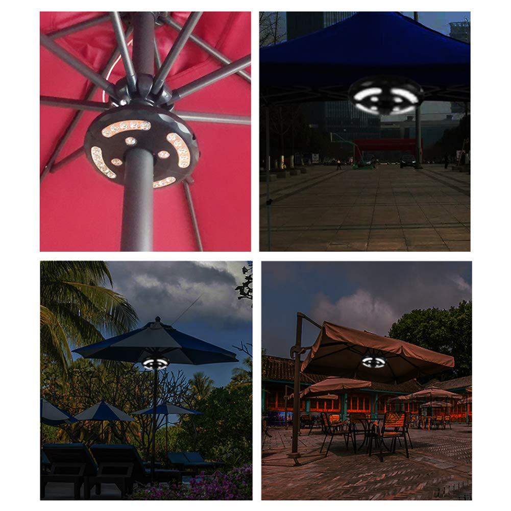 Usmascot Patio Umbrella Light Warm White 3 Brightness Modes Cordless 24 LED Lights Warm 4 x AA Batteries Operated Umbrella Pole Light for Patio Umbrellas,Camping Tents or Outdoor Use