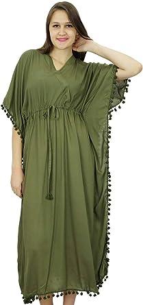 Bimba Women Long Printed Maxi Kaftan Cotton Night Wear Caftan Gown Coverup