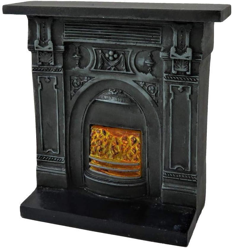 Melody Jane Casa de Muñecas Victoriana Hierro Fundido Chimenea Burning Carbones 1:12 Resina Muebles