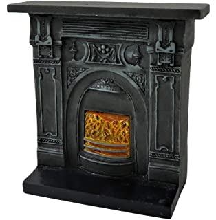 Dollhouse Miniature Fieldstone Walk in Fireplace in Resin