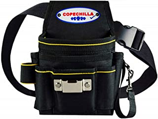COPECHILLA porta utensili da cintura professionale con doppia spesso base PVC,porta utensili da lavoro cintura 8 tasche impermeabile resistente all'usura per elettricista,costruttore,carpentiere,nero
