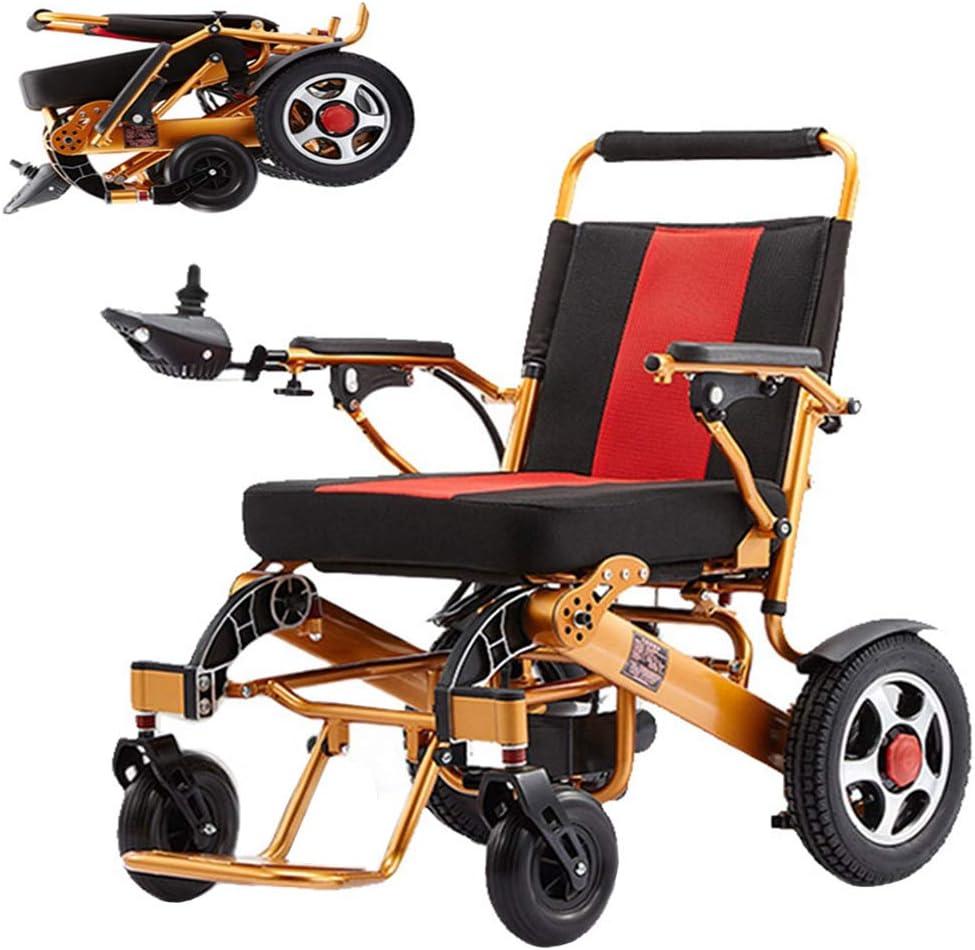WMMY Silla de Ruedas Eléctrica de Aluminio Plegable, para Personas Mayores y discapacitadas