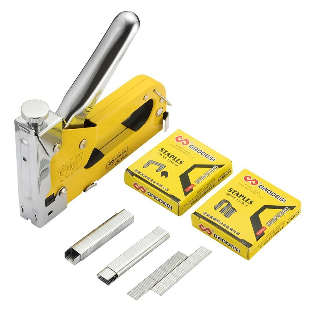 3-in-1 Staple Gun, Hand Operated Heavy Duty Carbon Steel Brad Nail Gun with 1 Staples Gun, 600 PCS Staples for Fixing Material, Decoration, Carpentry, Furniture, Doors and Windows by Enseng (Image #7)