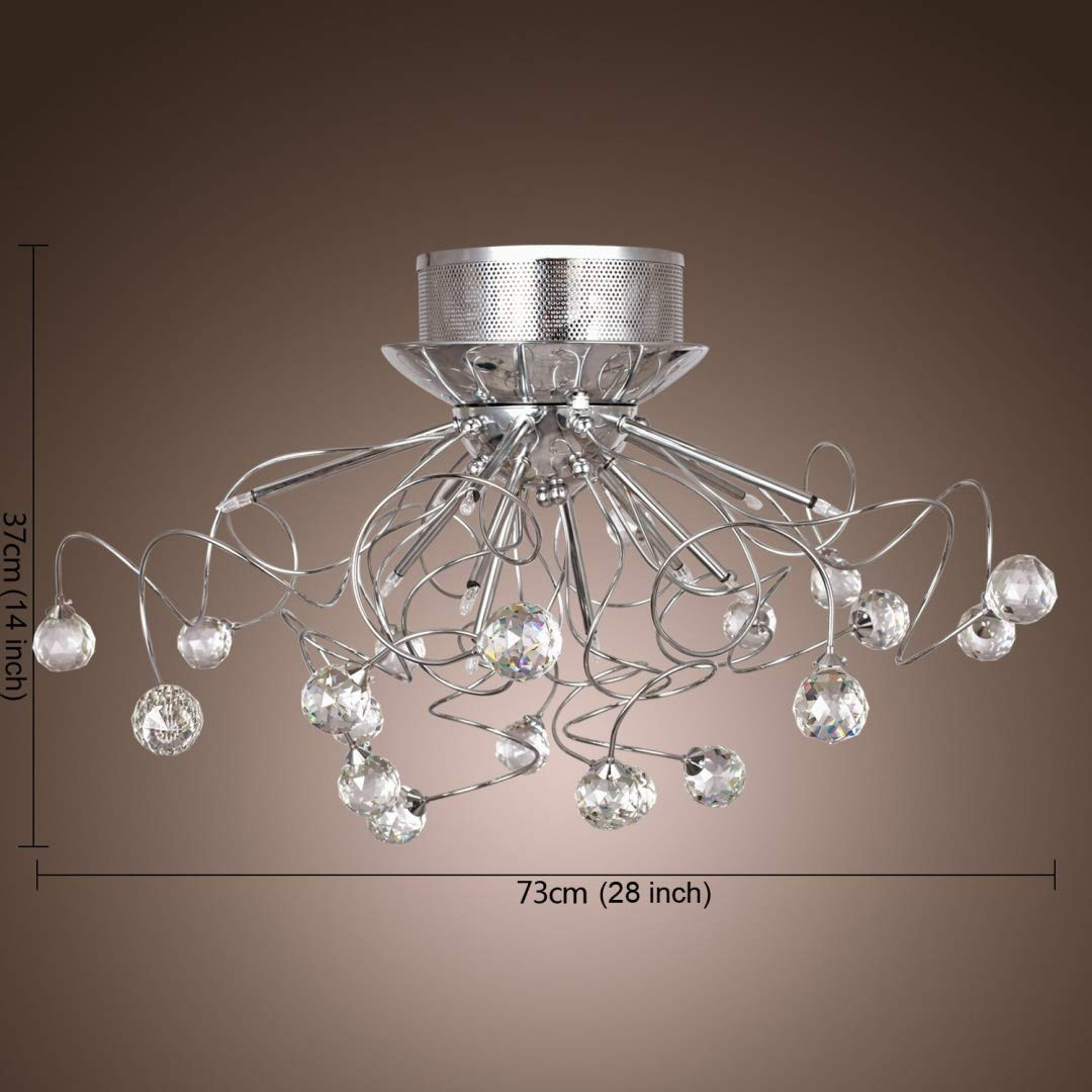 ALFRED® Chandeliers Crystal Modern Design Living 9 Lights, Flush Mount Ceiling Light Fixture for Hallway, Entry, Dining Room, Living Room, Bulb Included