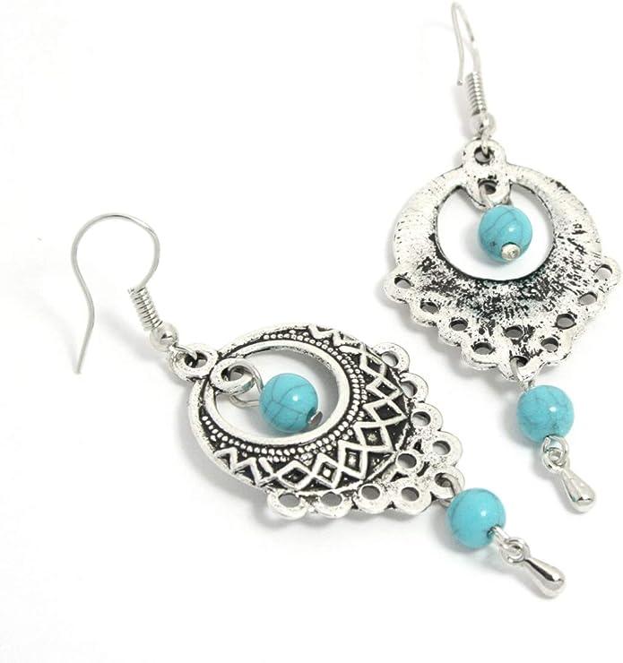 Ein Paar Lang Leder Zum Anklipsen Creolen Tibet Silber Ohrhänger Boho