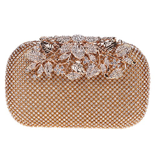 Fawziya Flower Purses With Rhinestones Crystal Evening Clutch Bags-Gold (Silk Evening Shoes)