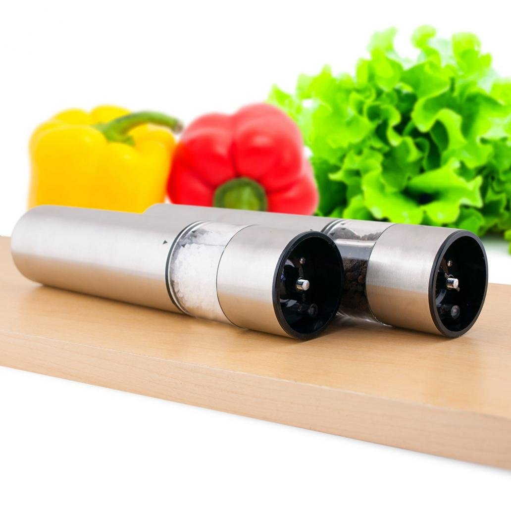 Electric Stainless Steel Pepper Salt Mill Battery Operated One Touch LED Grinder - Silver zsjhtc
