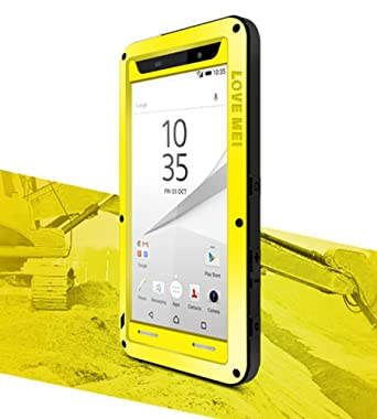 purchase cheap 32aa3 53474 Waterproof Case for Sony Xperia Z5 Premium (5.5 inch), LOVE MEI Brand  Aluminum Material with Gorilla Glass Screen Cover Yellow *Two-Years  Warranty*
